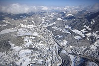 wintry scenery of Berchtesgaden, view to north, Germany, Bavaria, Berchtesgaden