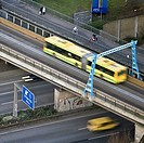 view fromt gasometer at A 42 high way bridge for buses and pedestrains, Germany, North Rhine_Westphalia, Ruhr Area, Oberhausen