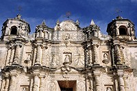Intricate baroque facade of the Santo Domingo Church in San Cristobal de las Casas, Chiapas, Mexico