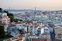 Overlooking the historic city centre of Lisbon and the Tagus River, Portugal, Europe