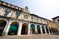 torretta dell´orologio, piazza della lggia, brescia, lombardia, italia