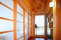 Corridor with window, nice light interior on mediterranean house