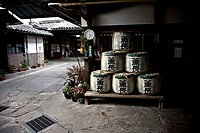 Barrels of sake in a traditional sake factory