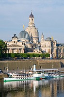 View on the baroque old part of town with the Frauenkirche Church of Our Lady, Bruehlsche Terrassen terraces and paddle wheel steamer, Dresden, Saxony...