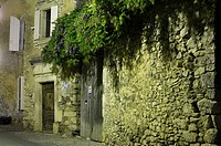 Old brickwall at night, Montsalier, Provence, France