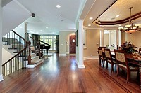 Foyer in luxury home with dining room view
