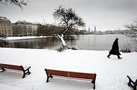 Snow covered winter view of Binnenalster Lake in Hamburg Schleswig-Holstein, Germany