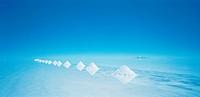 The pyramids of salt on the salt flats of the Salar de Uyuni, Bolivia, South America