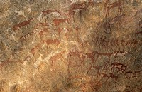 Prehistoric rock paintings at Jebel Uweinat, Jabal al Awaynat