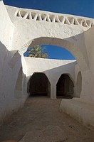 Narrow lane in the historic center of Ghadames, Ghadamis, Unesco world heritage site, Libya