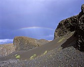 Rainbow over a black volcanic desert, Joekulsarglufur National Park, Iceland