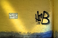 Backyard with graffiti, Schwabing, Munich, Bavaria, Germany