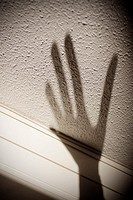Shadow of hand on wall