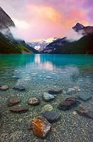 Sunrise on Victoria Glacier Lake Louise, Banff National Park, Alberta, Canada