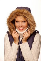 Portrait of a freezing woman