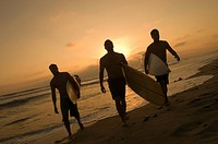 Three surfers carrying surfboards out of surf at sunset