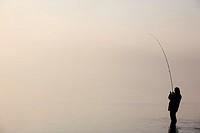 Fisherman at Bassenthwaite Lake, Cumbria, England