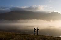 Fishermen at Bassenthwaite Lake, Cumbria, England