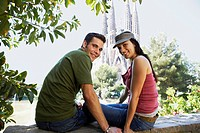 Young couple enjoying view in Barcelona portrait (thumbnail)