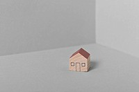 close_up of miniature wooden house