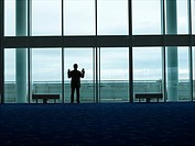 Businessman standing Looking out Window back view (thumbnail)