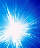 Burst of light on blue background