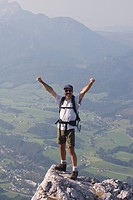 male hiker at a peak, bad ischl, salzkammergut, austria