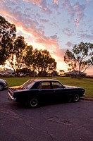 Classic car at sunset, Streaky Bay, South Australia, Australia