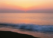 Shonan seashore at sunrise, Shonan, Odawara, Kanagawa Prefecture, Japan