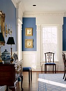 Formal Dining Room with Blue Walls