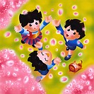 Children catching cherry blossom petals
