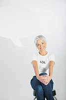 Smiling woman in an ´LOL´ t_shirt