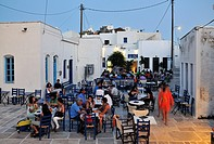 Agios Athanasios square during dusk timen at Chora main town, Serifos island, Greece