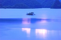 Lake Akimoto in dusk, Kitashiobara village, Fukushima prefecture, Japan