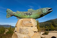 Monument to the salmon. Pas river. Toranzo. Cantabria. Spain.