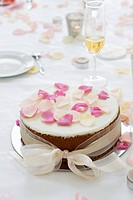 Close_up of a wedding cake on a dining table