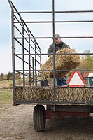 Farmer with tractor of hay