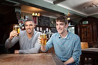Young men in bar