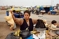 Woman with bags of chickens, Lima, Peru