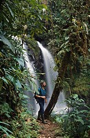 Adult male hiking in tropical rainforest with waterfall, Cordillera Central, Central America
