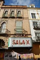 Abandoned porno-cinema in the Feria quarter.  Seville, Andalucia, Spain, Europe
