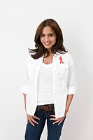 Woman wearing aids awareness ribbon