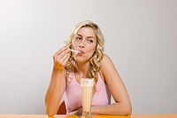 Woman with milkshake