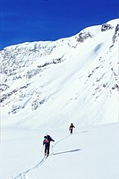 Mount Shaunzy, Selkirk Mountains, British Columbia, Canada, Cross_country skiers traversing uphill