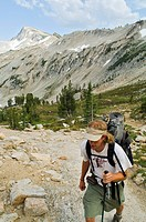 Carper Pass, Eagle Cap Wilderness, Oregon, USA, Hiker on the move