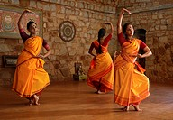 Odissi dance class at Nrityagram, Bangalore, Karnataka, India, Asia