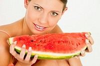 portrait of woman with water melon