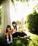Japanese mother and daughter reading in park