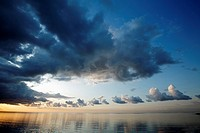 Thunder Clouds over Wadden Sea at Dawn, Texel Island, Holland