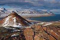 View over Fjardara valley, Borgarfjorur Eystri fjord, Bakkagerdi village and Mount Dyrfjoll Door Mountain, 1136m, in the distance, from east side of t...